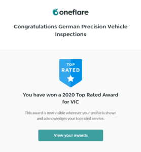 GERMAN PRECISION has won yet another award for our service from OneFlare. Thank you for your support and trust! Contact German Precision for the best pre-purchase car inspection in Melbourne.